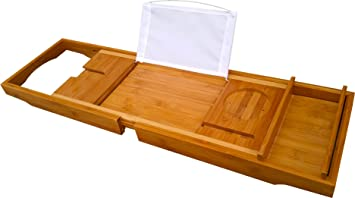 Amazon.com: Bamboo Bath Tray Book Holder - Bathroom Bathtub Bath ...