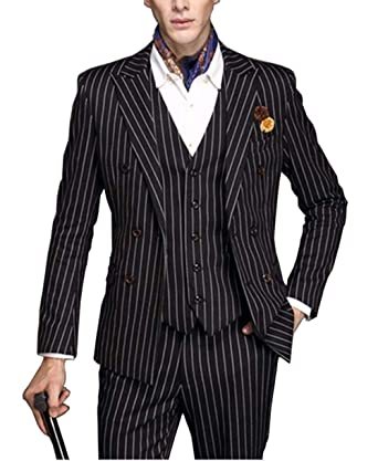 durable in use color brilliancy top-rated original Fitty Lell Men's 3 Piece Striped Suits Slim Fit Tuxedo ...