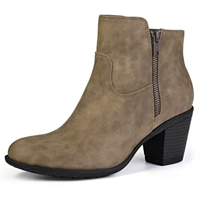 Women's Round Toe Stacked Chunky Heel Zipper Ankle Boots