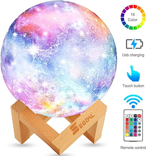 16 Colors LED 3D Print Moon Light with Stand Remote Touch Control and USB Rechargeable 3D Moon Lamp