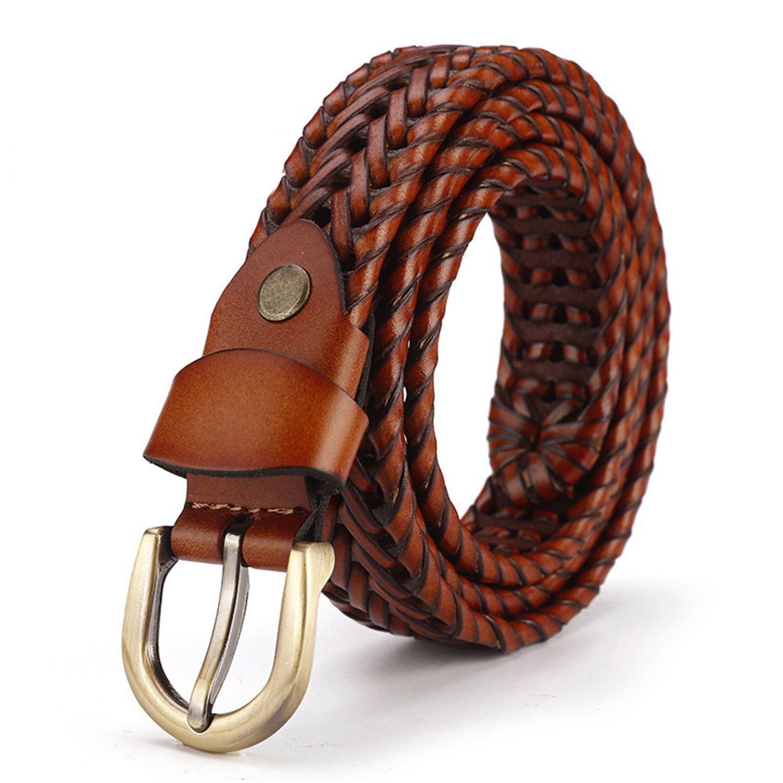 Reinhar Woven belt genuine leather women's straps man belts Wide girdle Male cow skin vintage fashion brand ceinture femme woman brown 120cm