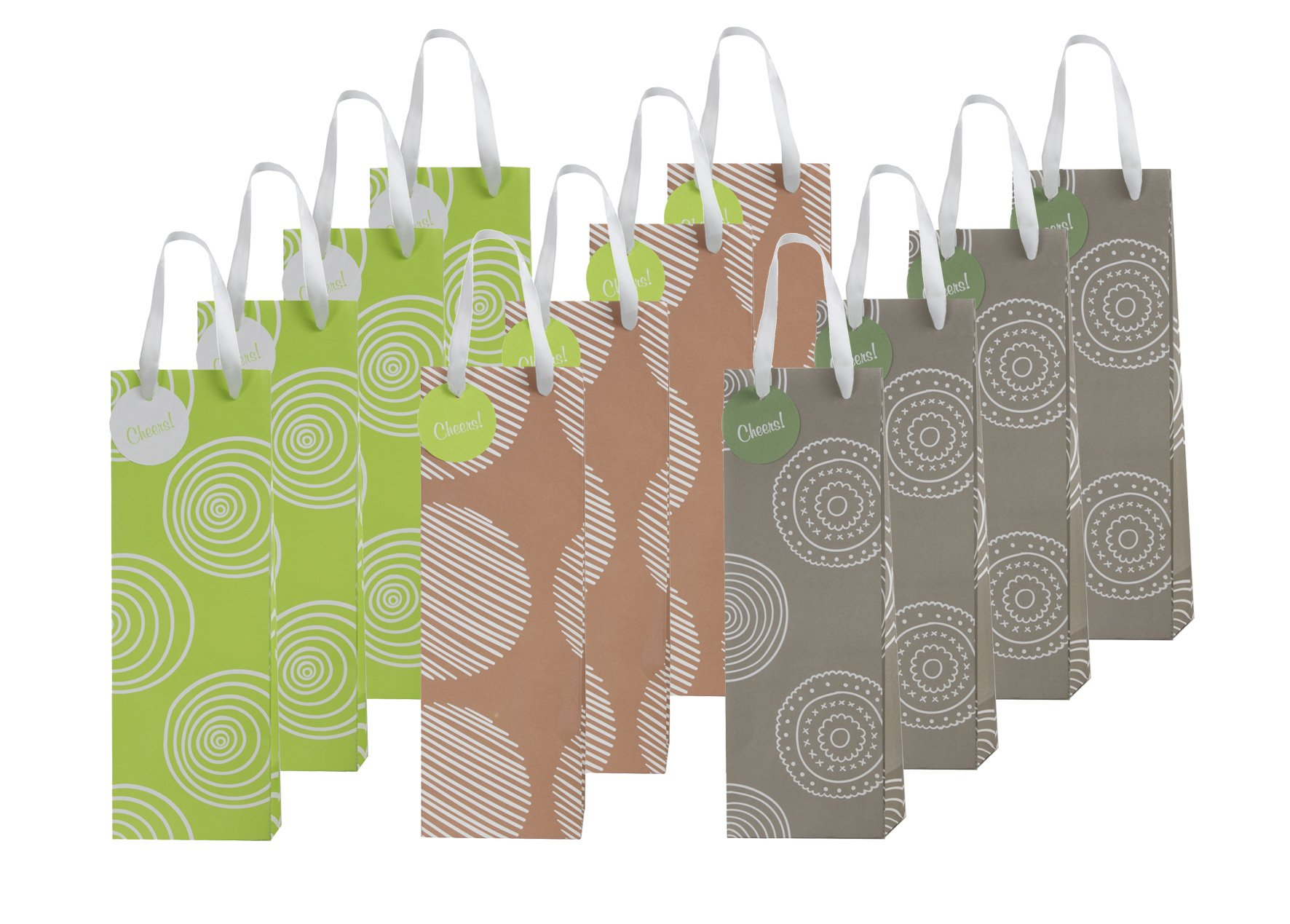 12 Piece Exclusive Wine Bags, 3 Organic Designs