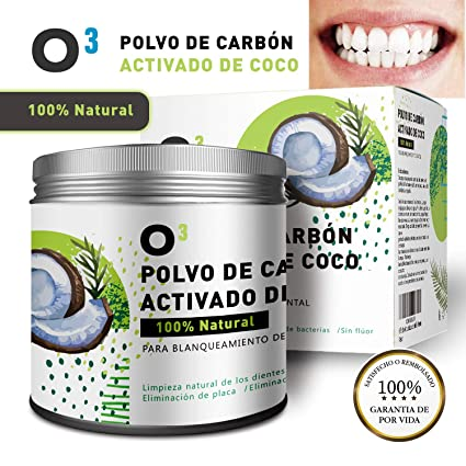 O³ Carbon Activado Dientes – Polvo Blanqueador Dental De Coco 100% Natural – Dientes Blancos
