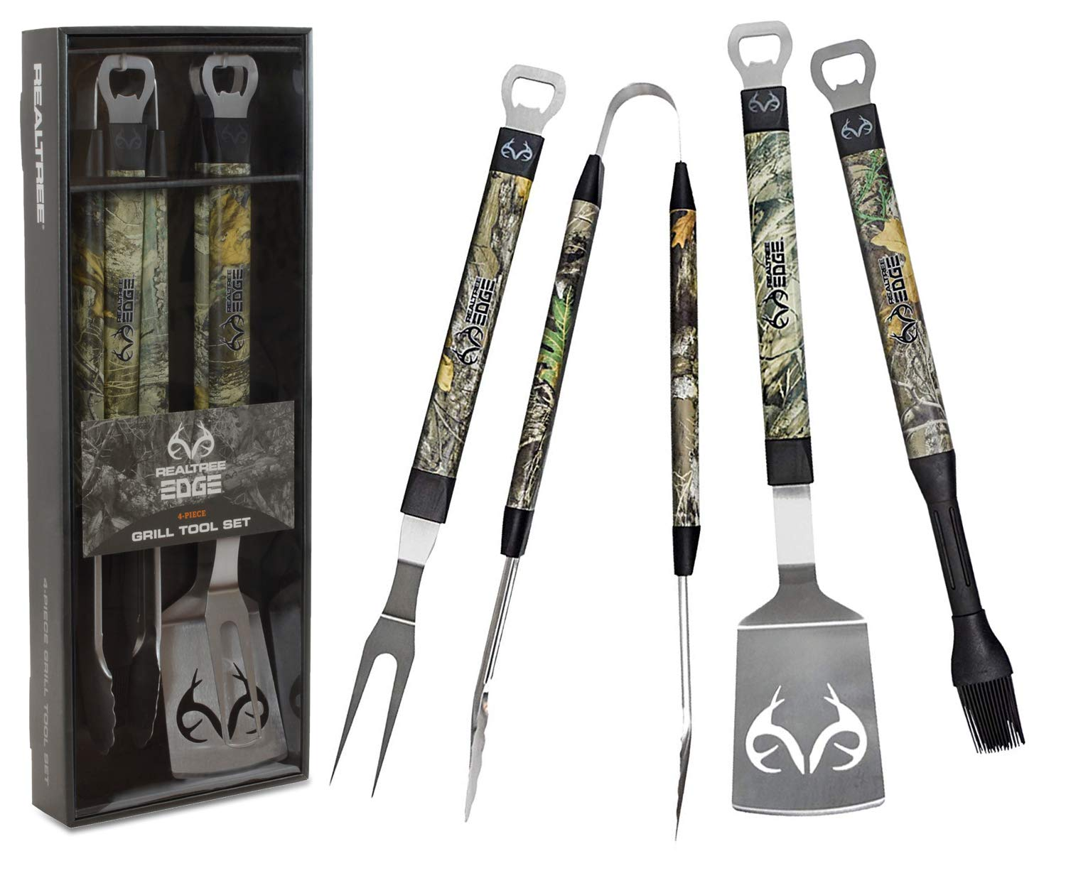 Realtree Edge BBQ Grill Accessories, Includes 18 Stainless Steel Tools Spatula, Tongs, Fork, and Basting Brush, 4 Piece Set