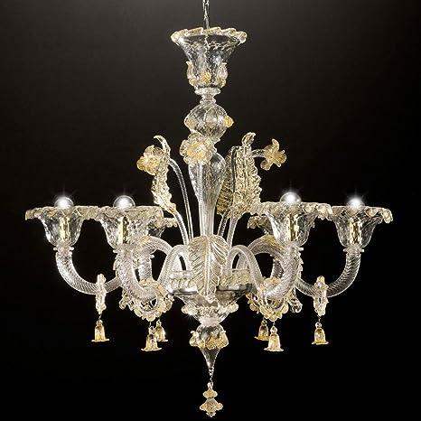 Canaletto lampadario 6 luci in vetro di Murano: Amazon.it ...