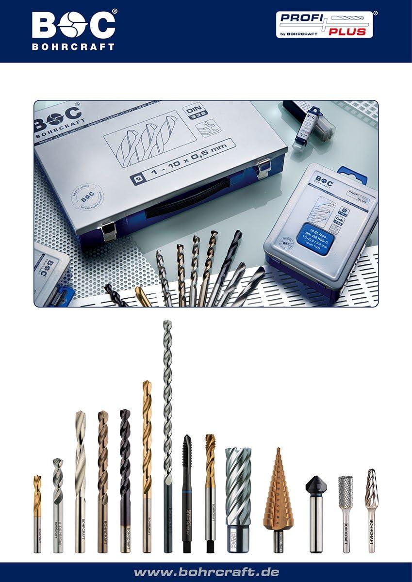 BOHRCRAFT 17-tlg HSS-G DIN1897 Metall Spiralbohrer kurz 2,0-10,0 x 0,5mm Bohrer