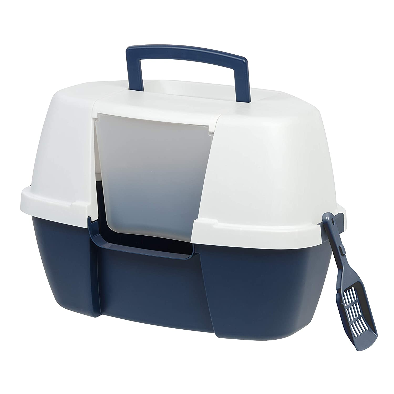Navy Corner Navy Corner IRIS Large Hooded Corner Litter Box with Scoop, Navy