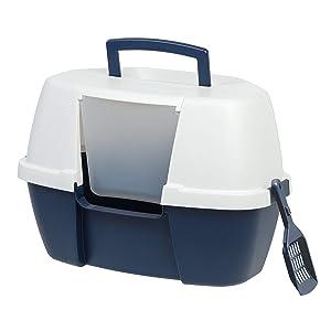 IRIS Large Hooded Corner Litter Box with Scoop