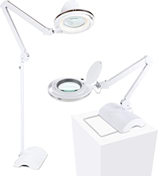 Brightech Lightview Pro 2 in 1 - Magnifying Glass LED Reading Lamp Converts from Table to Floor Lamp