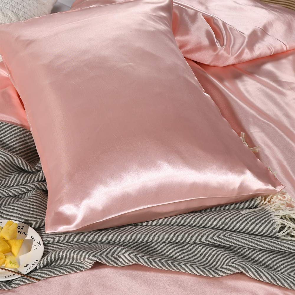 Pink, King One Duvet Cover Two Pillowcases Pink Bedding Silk Like Satin Duvet Cover Set Light Pink Silky Microfiber Quilt Cover Pink Girls Bedding Sets King Bedding/_Dreamer 104x90