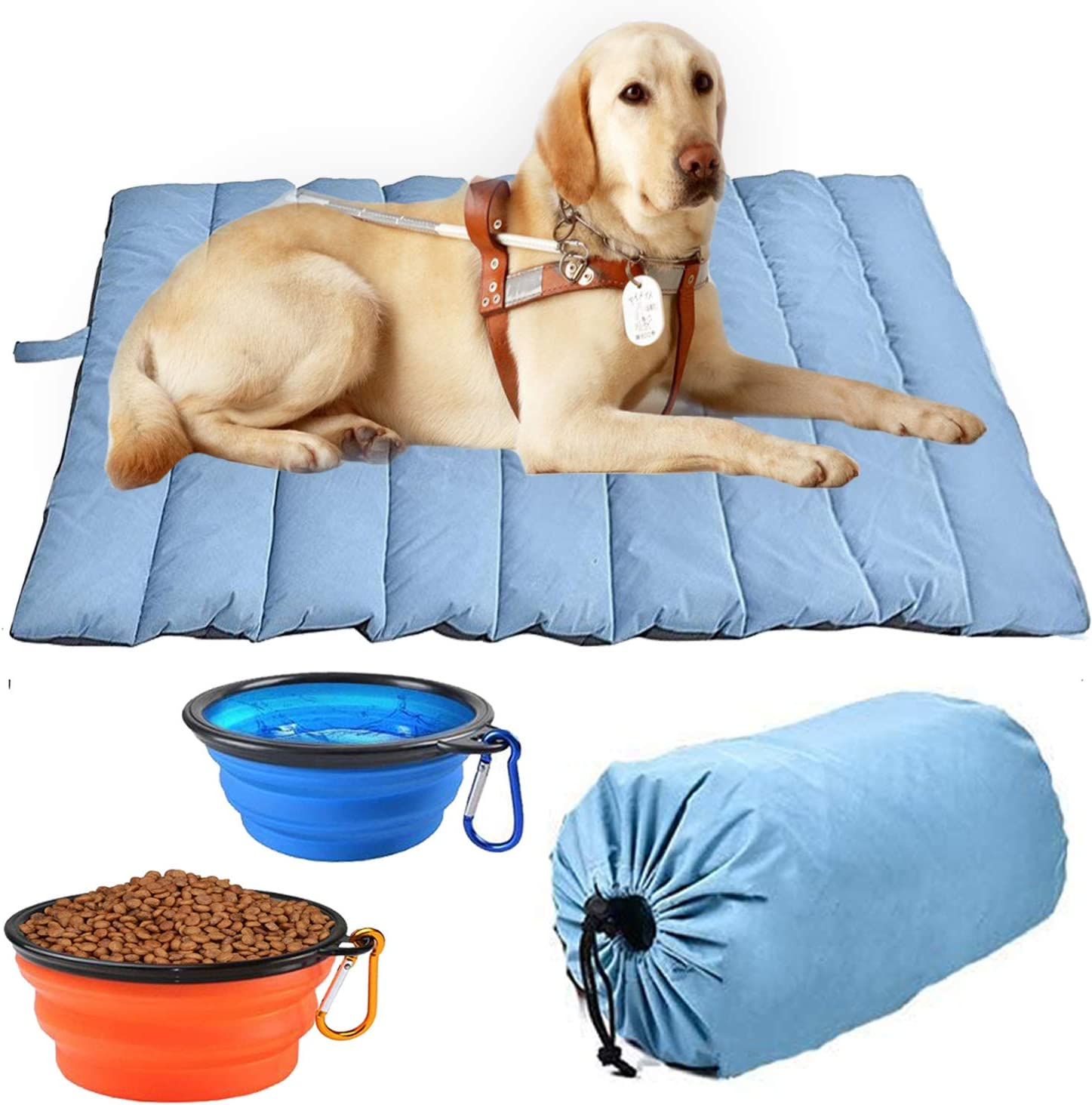 lululun Outdoor Waterproof Dog Bed - Washable, Large Size, Durable,Portable and Camping Travel Pet Mat 47'' x 28'' - Fit Indoor Outdoor Use for Dogs Cat Pet, for Four Seasons (47.5'' x 27.5'', Blue)