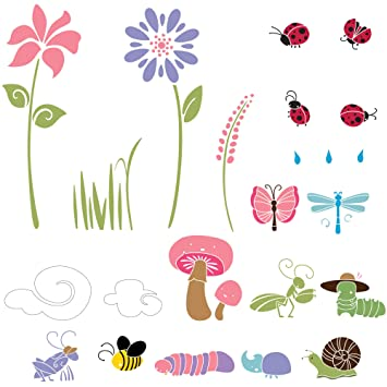 Amazon Com Bugs Blossoms Wall Mural Stencil Kit Flower Stencils