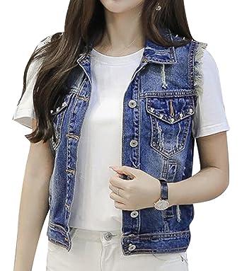 c87a60c9a6856 Artffel women fashion ripped cut off denim vest sleeveless jean jacket coat  blue jpg 342x383 Cut