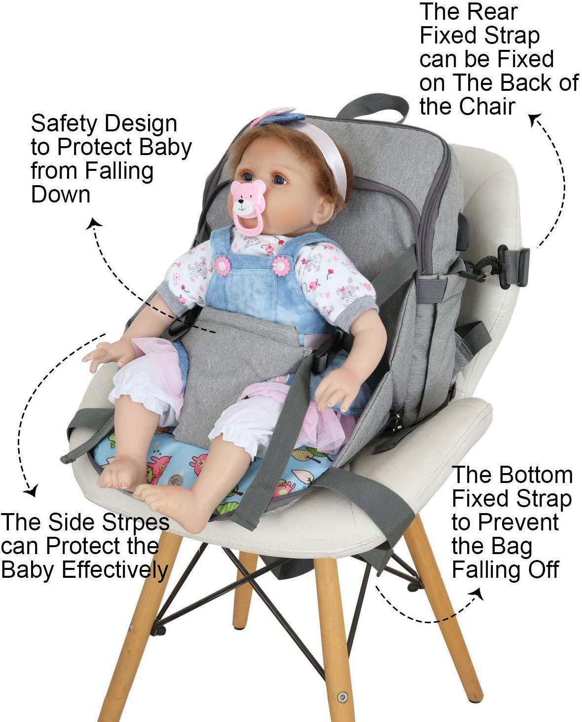 Mommy Reisetasche mit Baby-Handschuhen Windelrucksack Babysitz Wickeltasche 28 x 12 x 36 cm gro/ße Kapazit/ät Buggy-Clips Picaru Wickelrucksack wasserdicht