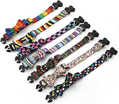Amakunft Collar Básico para Perro con Lazo, Colorido Patrón ...