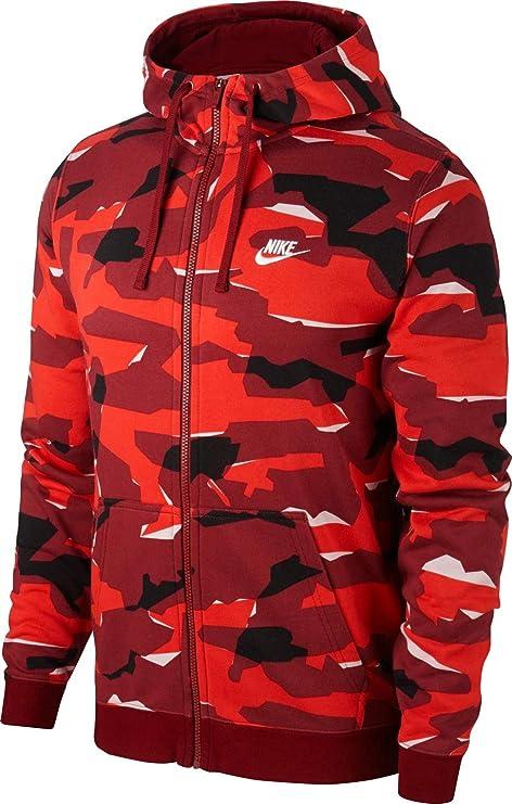 Nike M NSW Club Camo Hoodie FZ BB – Pull Homme, Rouge (Team