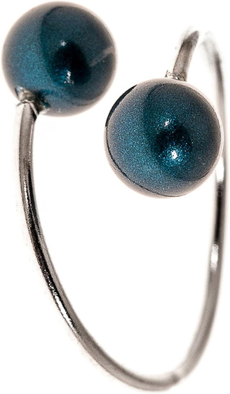 Córdoba Jewels | Anillo en Plata de Ley 925. Diseño Tú Y Yo Perla Verde