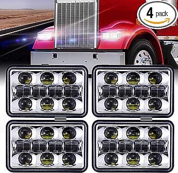 """4x6/"""" Black LED Projector Headlights for KW Kenworth T800 T600 W900 Peterbilt 379"""