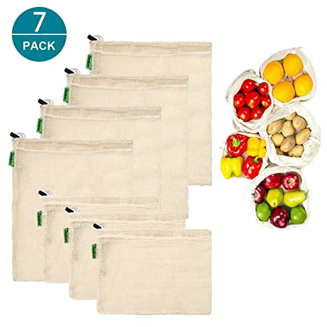 Bolsas de la compra reutilizables, bolsa de producción de malla de algodón natural, fácil de limpiar, Zero-Waste, juego de 7 (3 pequeñas, 4 medianas)