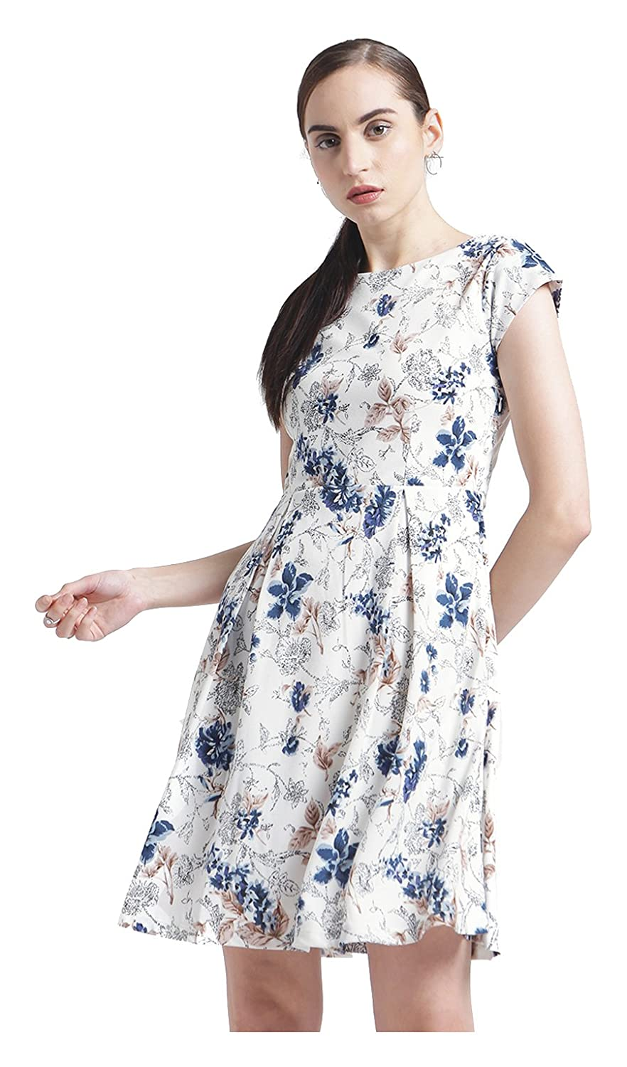 Zink London White Floral Printed Pleated A-Line Dress for Women  Amazon.in   Clothing   Accessories 38bce6fad