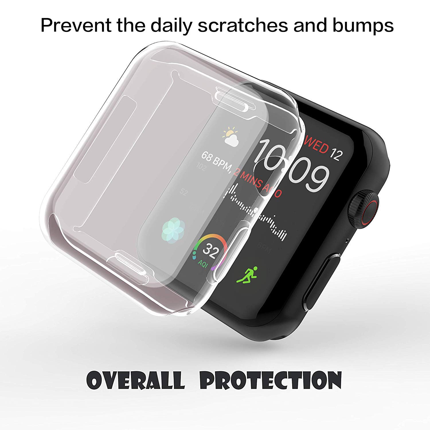 【2Pack】 Wistore Compatible with Apple Watch 4 Case 44mm, Apple Watch Series 4 Screen Protector, 2018 New iWatch Overall Protective Case TPU HD Clear Ultra-Thin Cover for Apple Watch Series 4 (44mm) by Wistore (Image #2)