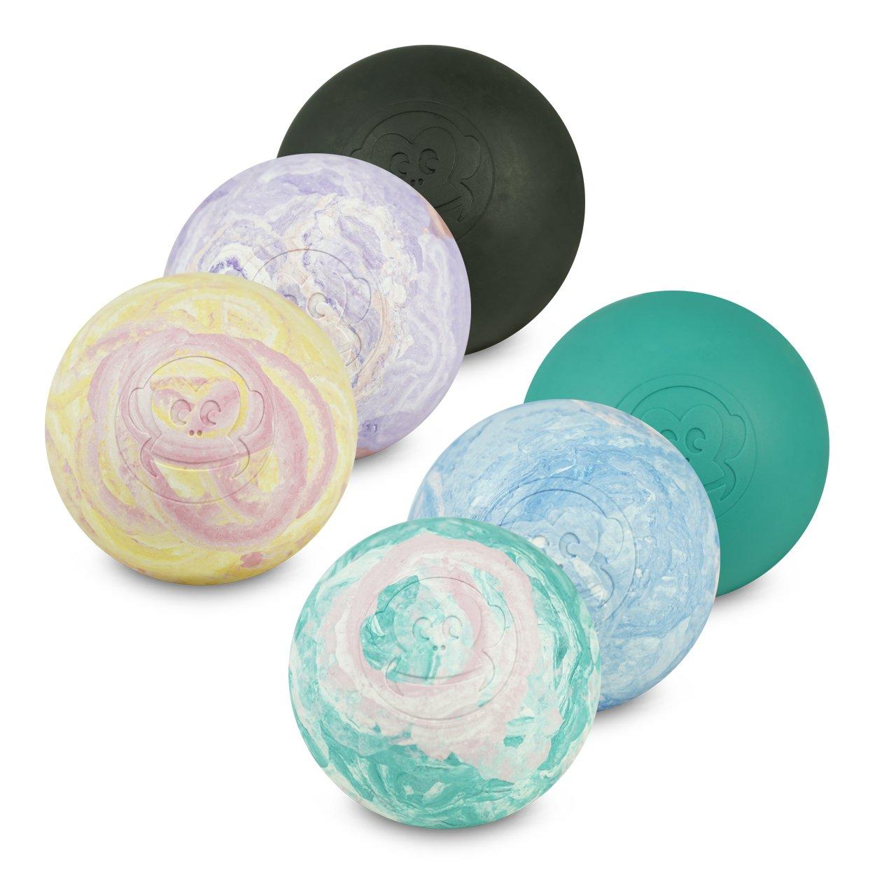 Captain LAX Massageball Original - Lacrosseball im 6er Pack in Verschiedenen Farben, aus Hartgummi, Grö ß e einzeln 6 x 6 cm geeignet fü r Triggerpunkt- & Faszienmassage/Crossfit