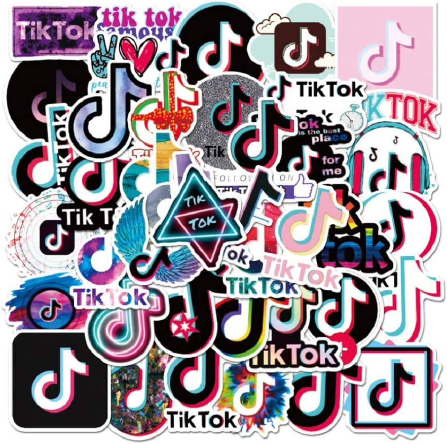 Travel Case TIK Tok TikTok Vinyl Waterproof Stickers for Guitar ,Travel ,Laptop,Water Bottles,Computer,Phone,Hard hat,Car Stickers and Decals TIK Tok App Stickers for Kids Teen |50pcs