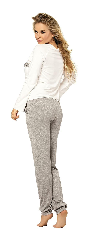 0fca9f0ccda3ee Langer Damen Schlafanzug Pyjama aus Viskose Malwina (XS - 2XL): Amazon.de:  Bekleidung