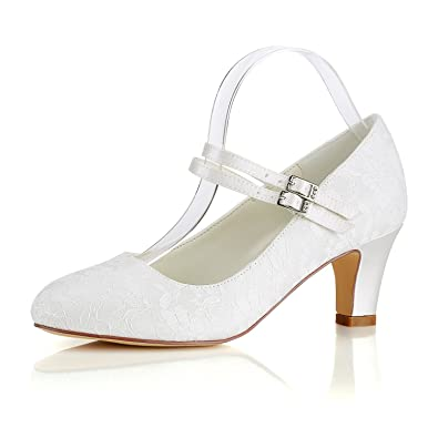 Emily Bridal Silk Wedding Shoes Vintage Round Toe Mary Jane Bridal Shoes  Ivory Wedding Guest Shoes  Amazon.co.uk  Shoes   Bags ef096b24c