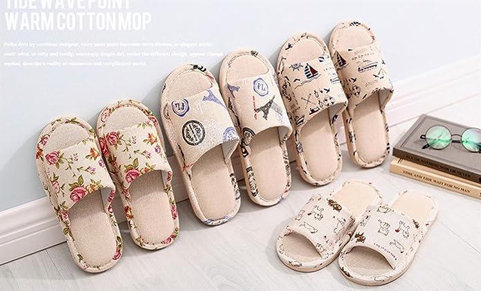 WJL Sábanas + Zapatillas de algodón, Zapatillas para hombres y mujeres en casa, Zapatillas de lino no deslizantes, Sandalias para el hogar ( Color : Letters , Size : 42/43 )