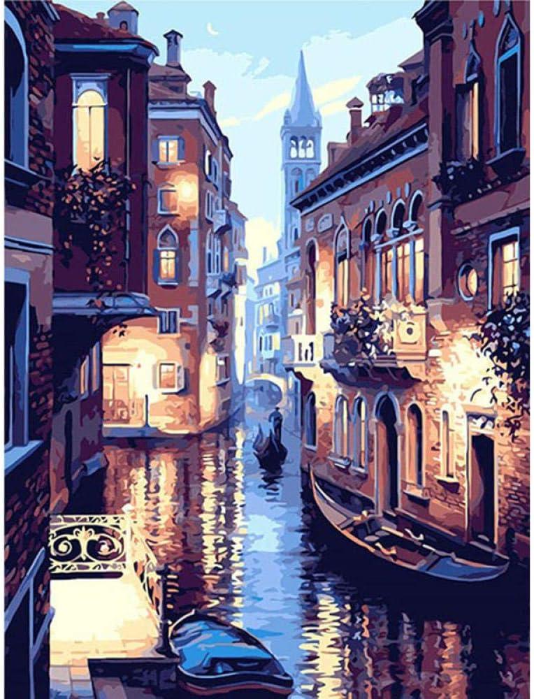 Jcpaint Peinture /à lhuile de Bricolage Sc/ène de Nuit de Venise Peinture par num/éro kit pour Enfants Adultes d/ébutants sans Cadre 40x50cm