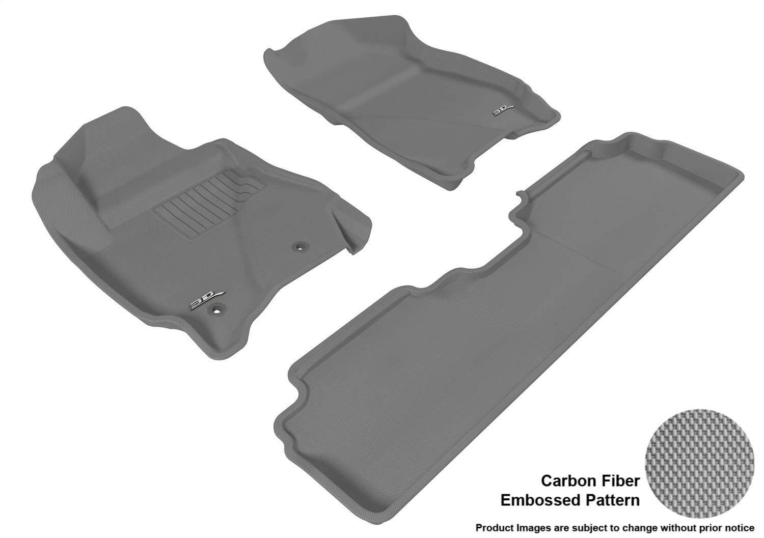 Gray L1FR03701501 3D MAXpider Complete Set Custom Fit All-Weather Floor Mat for Select Ford Escape Models Kagu Rubber