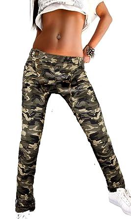 Damen Boyfriend Hose dunkelblau Camouflage Baggy Knopf Stretch Reißverschluss