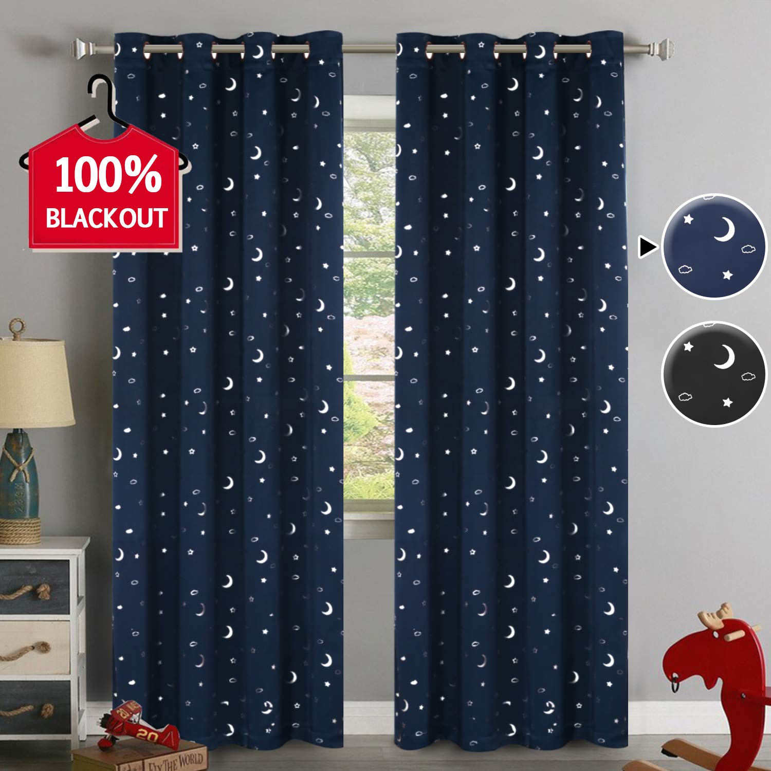"100% Blackout Curtains Starry Night Twinkle Moon and Star Pattern Galaxy Room Decor Thermal Insulated Nursery Window Drape with Grommet for Kid's Room Sold 2 Panels (Each 52"" x 84"", Navy)"