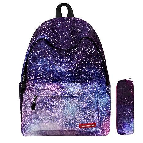 d4336f7d1fb8d Galaxy Muster Schulrucksack Unisex Reise Rucksack Taschen Freizeit  Schultaschen Backpack für Mädchen Jungen Kinder Damen Herren