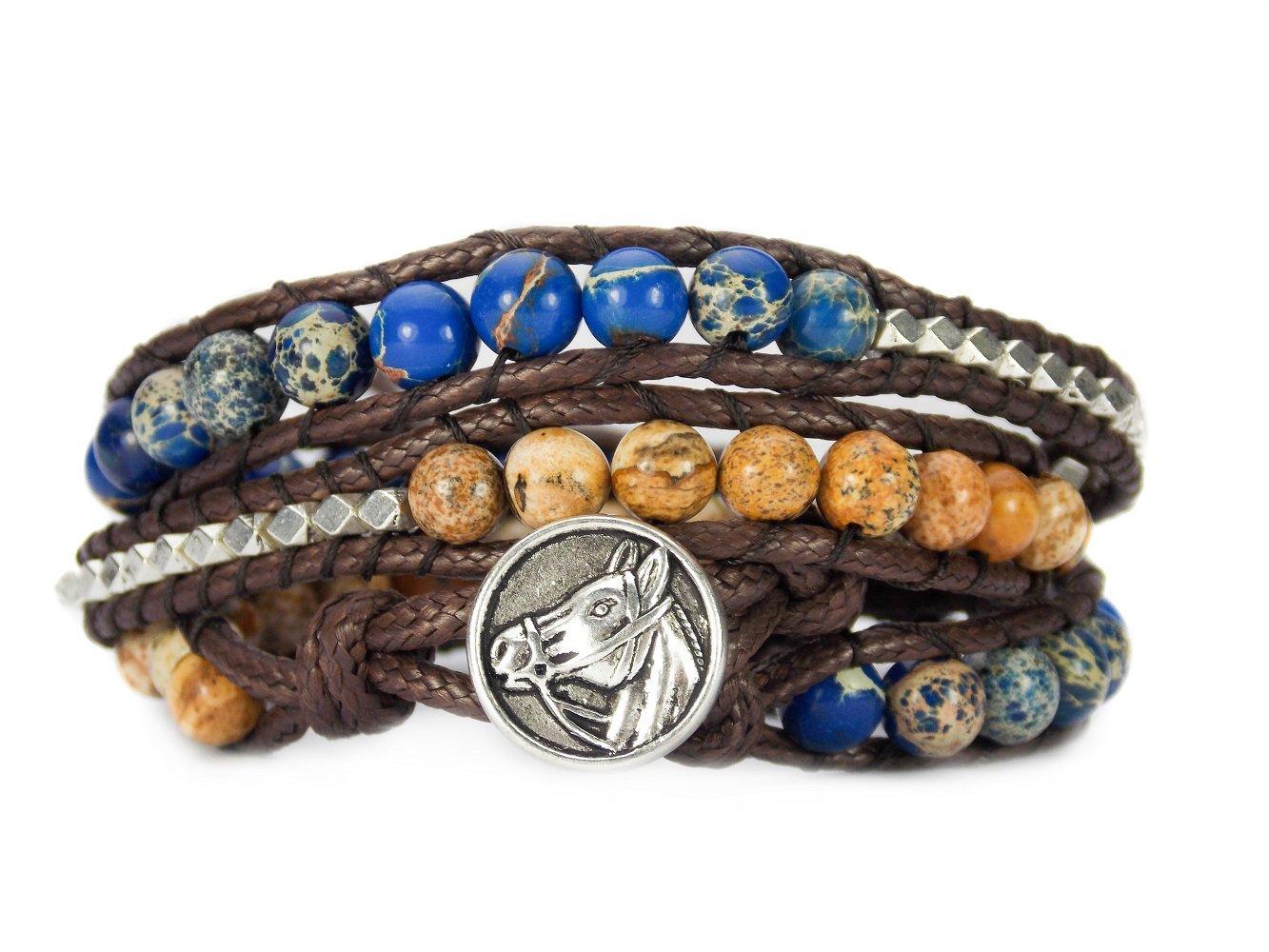 Horse Lovers Equestrian Bracelet Jasper Bead Wrap Carolyn Jane's Jewelry CJJ HLWRAP-0001