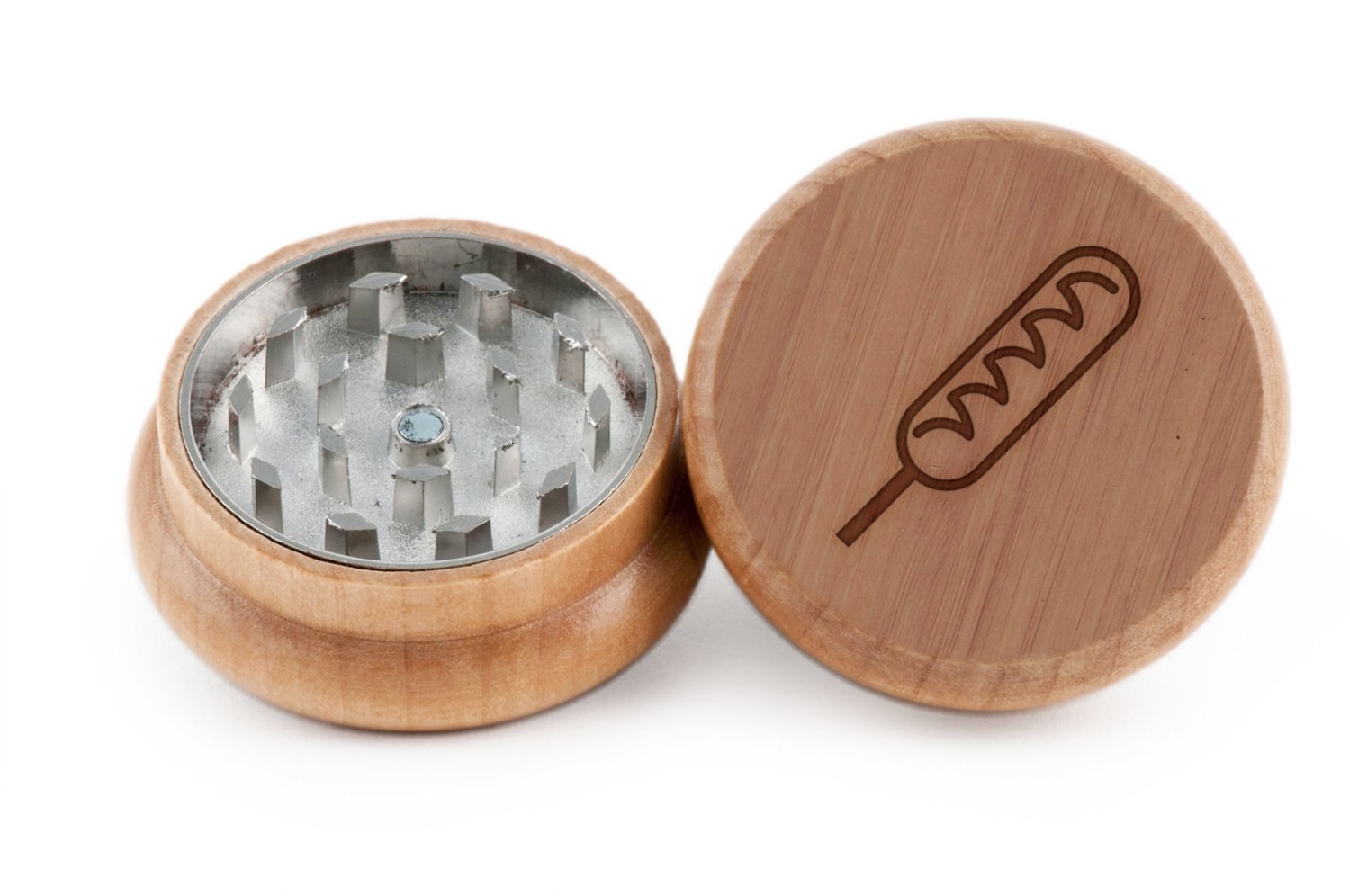 Corndog Herb and Spice Grinder - 2 Piece Wood Grinder with Laser Etched Designs - Made with Oak (2 Inches) GrindCandy