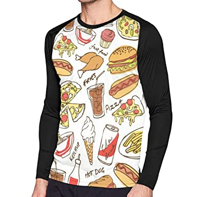 Foods Pizza Men's Contrast Print Long Sleeve Fashion T-Shirt