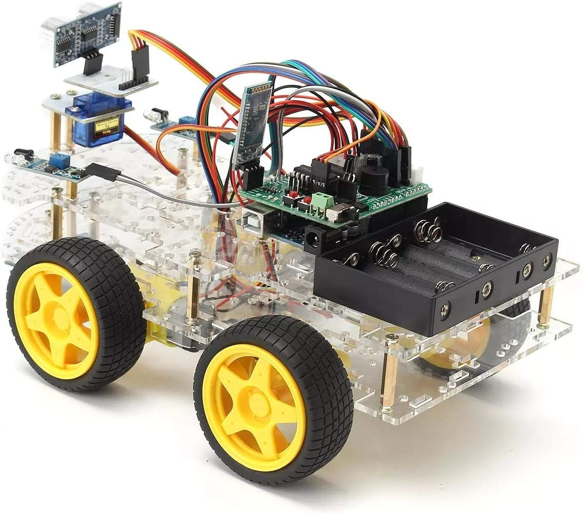 DIY Building 4WD Programmable Smart Robot Car Starter Kit With Remote Control for Arduino Starter Robot Kit Encourages STEM Creativity Scientific Robot Toy