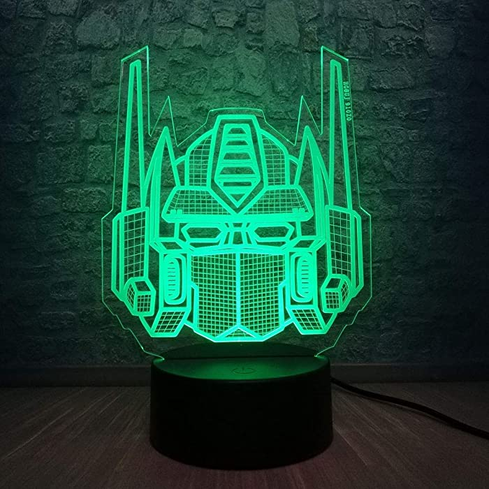 3D Optical Illusion Transformers Model Desk Table Led Night Light 7 Colors Gradual Changing Best for Boys Gifts or Home Office Decoration (Transformers)