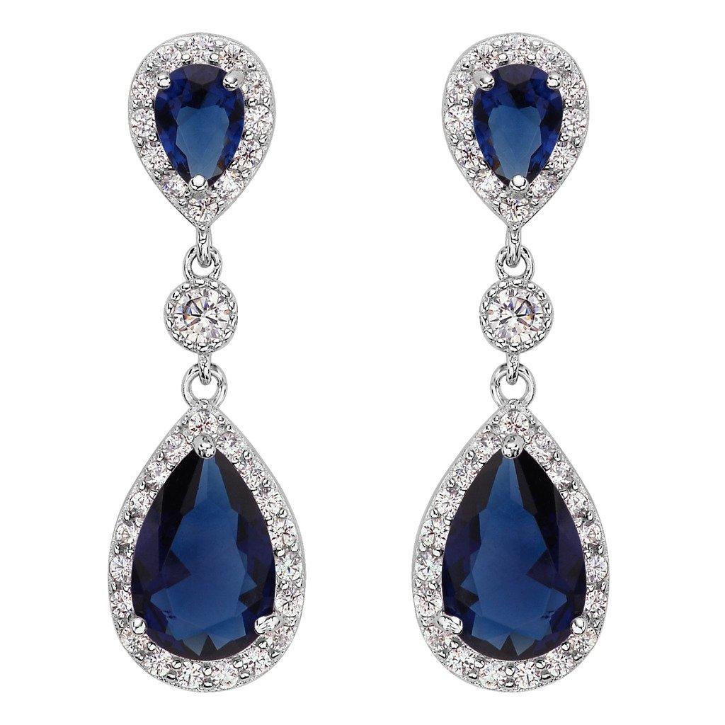 EleQueen 925 Sterling Silver Cubic Zirconia Teardrop Bridal Dangle Earrings 16001260-3ca