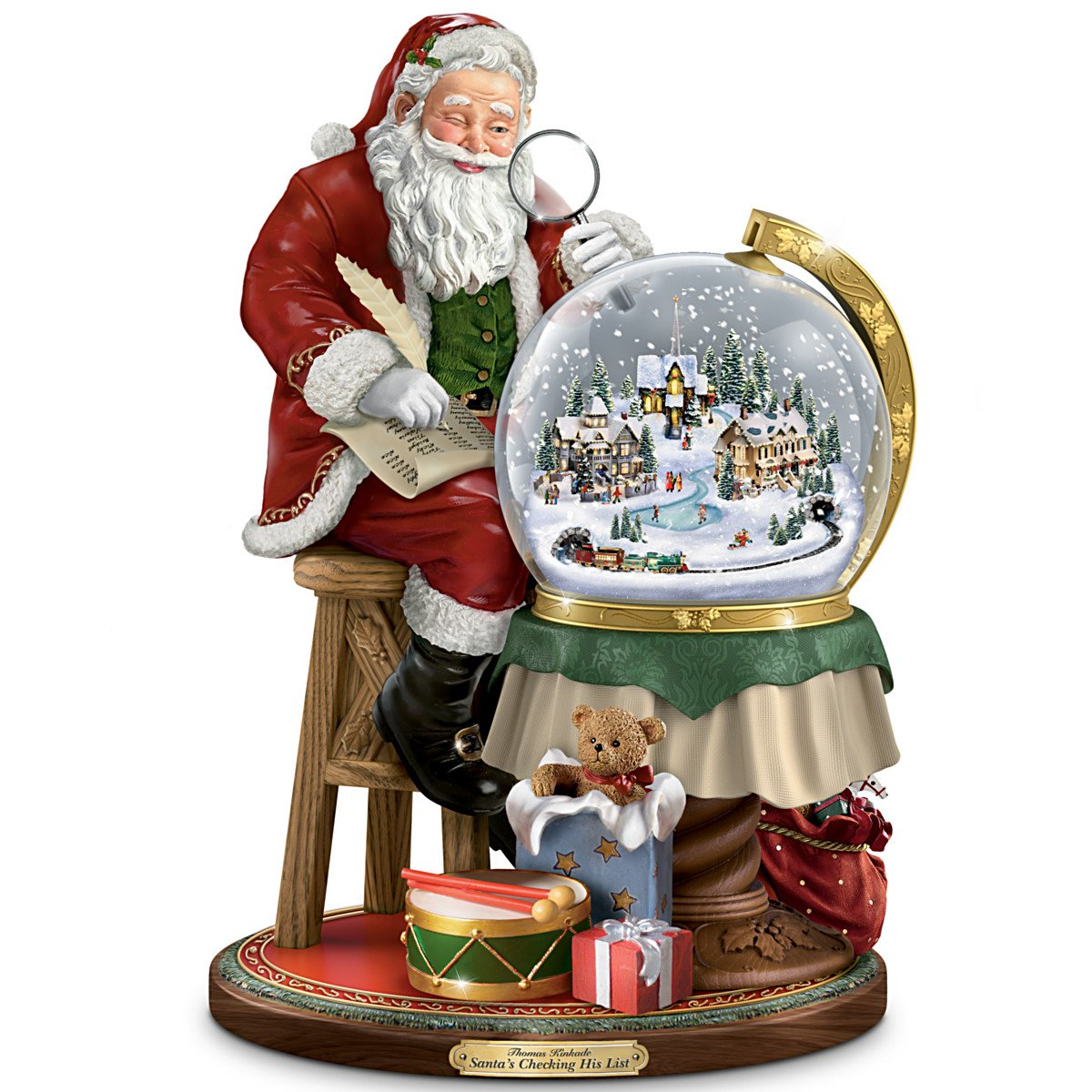 Thomas Kinkade Santas Checking His List Musical Sculpture With Swirling Snow by The Bradford Exchange