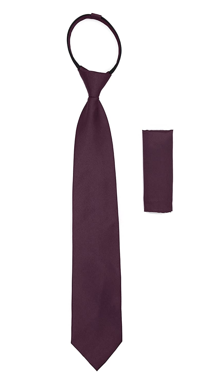 Mens Solid Color Pre-Tied Zipper Necktie and Hankie Set Many Colors