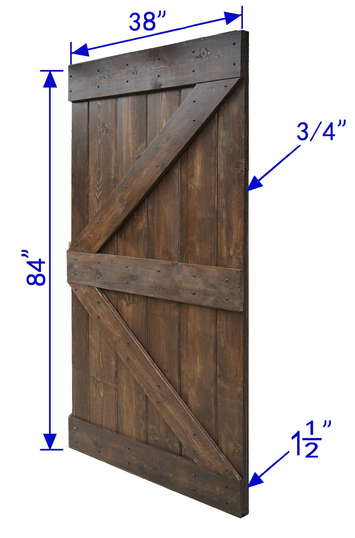 WELLHOME 38 in. x 84 in K Series DIY Solid Interior Barn Knotty Wood Painted Door (Dark Walunt)