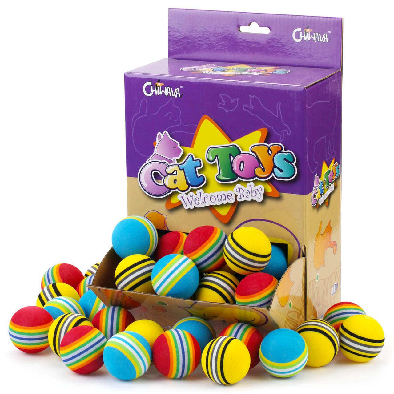 Chiwava 45PCS 1.7'' Slightly Soft Foam Cat Toys Ball Rainbow Color Balls Kitten Activity Chase Play Mix Color