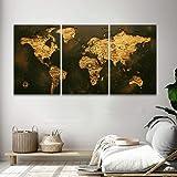 Quadro Decorativo De Parede Sala 120x60 Mapa Mundi Antigo Rústico Kit