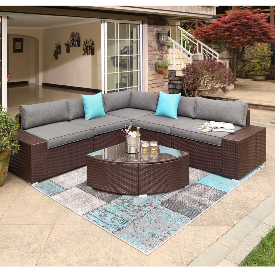 COSIEST 6-Piece Outdoor Furniture Chocolate Brown Wicker Executive Sectional Sofa w Dark Grey Thick Cushions, Glass-Top 1 4-Circle Coffee Table, 2 Turquoise Pillows Incl. Waterproof Cover, Clips
