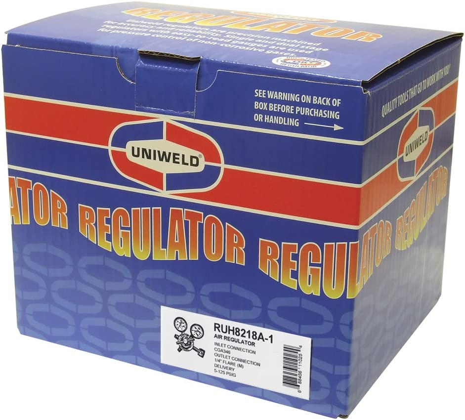 Uniweld RUH8218A-1 Medium//Heavy Duty Single Stage Air Regulator with a CGA346 Inlet