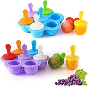 Silicone Popsicle Molds, Food Grade DIY Ice Pop Molds,Colorful Ice Cream Mold Ice Lolly, 7-Hole Popsicle Mold for Kids Food Freezer Trays Ice Pop Maker with Silicone Spoon (Lilac+Blue)