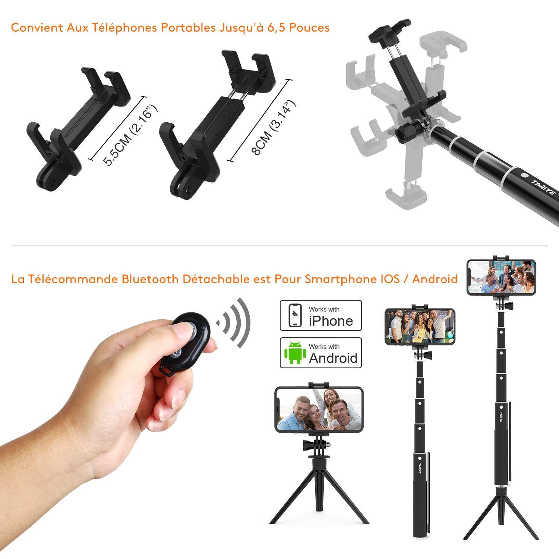 ThiEYE Perche Selfie Bluetooth T/él/écommande D/étachable /à Tr/épied Selfie Stick 87cm R/églable Aluminium Monopod Multifonctionnel pour Smartphone iPhone//Galaxy Cam/éra Sport Gopro//AKASO//YI//Crosstour//DJI
